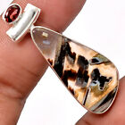 Tube Agate and Garnet 925 Sterling Silver Handmade Pendant Jewelry SDP34613
