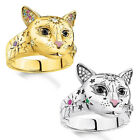 Hot 925 Silver Cute Cat Head Rhinestones Band Ring Jewelry Gifts Ring Size 5-11
