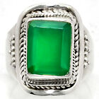 Natural Green Onyx 925 Sterling Silver Handmade Ring Jewelry s.7.5 SDR41813