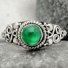 Natural Green Onyx 925 Sterling Silver Handmade Ring Jewelry s.8 SDR71481