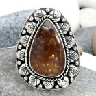 Sutured Ammonite - Madagascar 925 Sterling Silver Ring Jewelry s.6.5 SDR62490