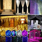 96-1500 LED Fairy String Hang Icicle Snow Curtain Light Outdoor Xmas Party Lamp