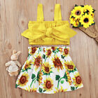 Toddler Baby Girls Sleeveless Tops Floral Skirt Dress Outfits Summer Clothes Set