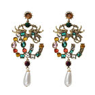 Geometric Multicolor Crystal Pave Later Dangle Drop Earrings Vintage Retro Style image