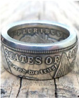 Handmade M0rgan Silver Dollar Coin Ring 'eagle' Silver Plated In Sizes 8-16 Rare
