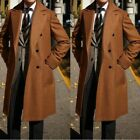 Men Winter Brown Wool Overcoat Double-breasted Wide Lapel Formal Long Suits