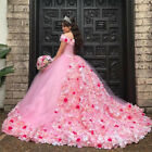 Gorgeous 3D Floral Sweet 16 Ball Gown Quinceanera Dresses Off the Shoulder Pink