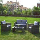 4 Piece Rattan Garden Furniture Set Patio Sofa Table Chairs With Cushions