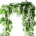 2X7FT Artificial Wisteria Vine Garland Plant Foliage Trailing Flower Home Decor