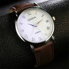 NEW Luxury Faux Leather Men's Watch Quartz Analog Business Casual Wrist Watches image