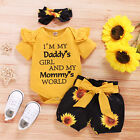3PCS Newborn Baby Girl Clothes Romper Bodysuit Tops Shorts Headband Outfits Set
