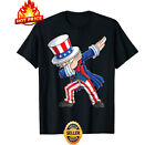 Dabbing Uncle Sam T Shirt 4th of July Men Black Shirt for American Independen...