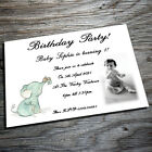 Personalised postcard style birthday/ christening invitations with envelopes