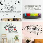 Removable Word Art Vinyl Wall Sticker Quote Mural Home Kitchen Decal Room Decor
