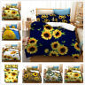 3D Sunflower Duvet Covers Pillow Shams Bedding Set Twin Queen Without Comfoter