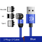 US 180°/360° Magnetic Cable Type C Micro USB iOS Charger Cord For Android iPhone