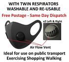 Black Washable Face Mask Twin Air Flow Breathing Valves Re-Usable Protection