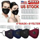 4X Washable Cloth Face Mask Mouth Cover Masks With PM2.5 Filters Reusable US