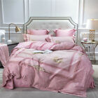 Egypt Cotton Bedding Set Pink Duvet Cover Sets Bed Sheet Queen King Size 4Pcs