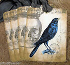 Hang Tags BLACK CROW RAVEN SKULL POSTCARD TAGS or MAGNET 40 Gift Tags