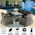 Rattan Garden Furniture Corner Sofa Dining Table Set Stools Bench Grey 9 Seat UK