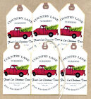 Hang Tags CHRISTMAS TREE FARM RED TRUCK FEEDSACK STYLE TAGS #1217 Gift Tags