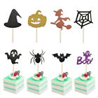 8Pcs/Set Halloween Decoration Spider Witch Cupcake Cake Toppers Inserted Cards