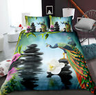 3D Fairyland Peacock Duvet Cover Queen Animal Comforter Cover Pillowcase