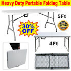 Folding Table 5ft 4ft White Steel Portable Camping Picnic Trestle Outdoor Indoor