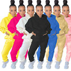 NEW Women Solid Color Hoodie Long Sleeves Drawstring Casual Sporty Tracksuit 2pc