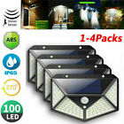 100 LED Solar Powered PIR Motion Sensor Light Outdoor Garden Security Wall Light