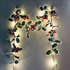 Red Berry LED Fairy String Lights Red Berry Christmas Rattan Garland Lights UK