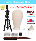 21/22/23/24'' Canvas Block For Wig Making Mannequin Head Table Tripod Stand Set