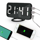 Mirror Rechargeable LED Alarm Clock Night Light Digital Clock with USB Charging#