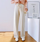 Womens 90 Cashmere Knitted Wide Legs Pants Straight Drawstring Trousers Hot Sz