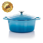 Non Stick Casserole Dish with Lid Cast Iron Round Enameled 4 Qt. Blue or Red