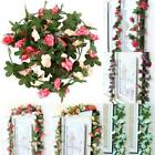 Artificial Rose Flower Fake Faux Vine Hanging Bunch Wedding Party Home Decors