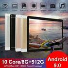 10.1' WiFi Tablet Android 9.0 HD 8G+512G 10 Core PC Google GPS+ Dual Camera 2020