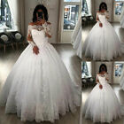 Off-the-shoulder Ball Gown Wedding Dresses Beaded Lace Appliques Long Sleeves