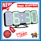 Remote Control LED Digital Wall Clock Large Display Vioce Home Decor 12/24 Hours
