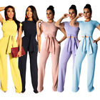 New Fall Women Crew Neck Short Sleeve Knot Front Casual Tops Long Pants Set