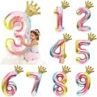 40'' Gradient Number Foil Crown Digit Ballon Birthday Age Party Decorations HOME