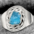 Neon Blue Apatite - Madagascar 925 Sterling Silver Ring s.8.5 Jewelry 6611