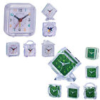 Travel Alarm Clock Mini Snooze Clock Analog Quartz With LED Night Light - Green,