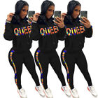 2pcs Fall Women Casual Sporty Letter Printed Hoodie Pocket Top Long Pants Sets