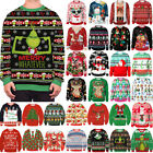 Christmas Print Unisex Couple Matching Jumper Knitted Sweater Pullover Ugly Top