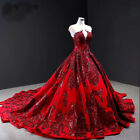 Wine Red Sequin Lace Wedding Dresses Satin Bridal Gown With Long Train Custom