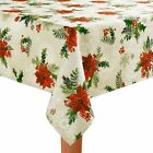 St Nicholas Square Christmas Fabric Table Cloth Red Poinsettia Holly Berry Print