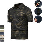 Mens Tactical T-Shirt Short Sleeve Airsoft Military POLO Camo Army Casual Shirt