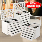 New 6 Layers Wooden Jewellery Display Box Case Rings Storage With Mirror Gift